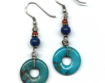 Turquoise Earrings, Carved Turquoise Disc Chinese Safety Buckle with Lapis Lazuli Bead and Red Glass Bead 925 Sterling Silver Earrings