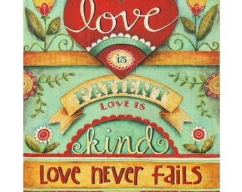 Love Never Fails 8x10 Bible Verse Scripture Inspirational Art Print Wedding Anniversary Gift