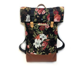 Roll-top Backpack-leisure backpack canvas/Leather