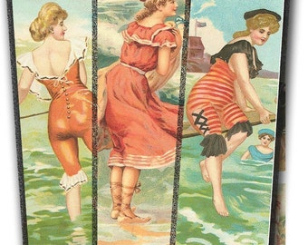 At the Beach Collage Sheet - Vintage Women in Their Bathing Costumes - Instant Download - Printable