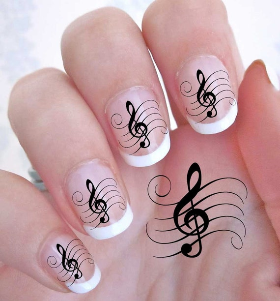 42 TREBLE CLEF Music Note Nail Art GCL G Clef Rocker