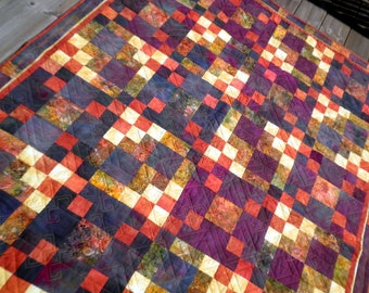 Patchwork Lap Quilt, Throw blanket, Heirloom, Hand Dyed,  Arizona Sunrise Mystery