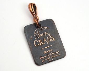 Leaves of Grass book cover pendant, small rectangular flat copper Walt Whitman poetry jewelry, etched metal, optional necklace, 25mm