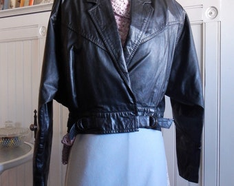 Black Leather Cropped Coat