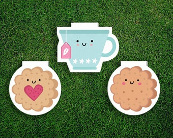 Magnetic Bookmark Set | Tea + Biscuits Magnet Bookmark, Jammie Dodger, Cookies, English, Scones, Cute, Quirky, Kawaii, Food, Sweet Treats