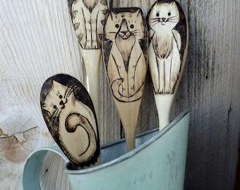 Cat spoons (wood burned)a unique gift idea.