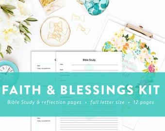 "Faith and Blessings Kit - Bible Study - Sermon Notes - All Things Through Christ 8"" x 10"" Print - INSTANT DOWNLOAD"