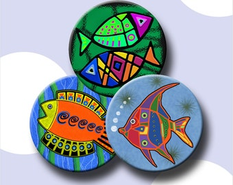 FUNKY FISH  -  2.5 inch Digital Collage Sheet for Pocket Mirrors, Magnets, Paper Weights - Instant Download #218.