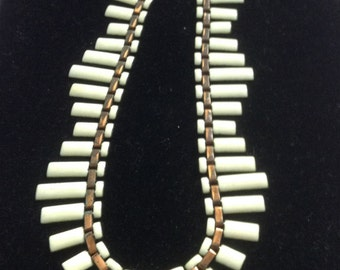 Vintage Matisse White Enamel & Copper Peter Pan Necklace.  !950 1960.