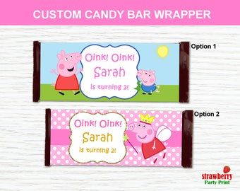Peppa Pig Candy Bar Wrapper Printable, Chocolate Bar Wrapper, Party Favors, Party Decoration, Peppa Pig Printable, Personalize Wrapper