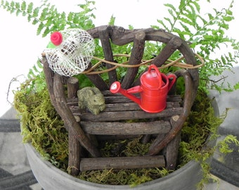 Fairy Garden Twig Bench - miniature with red water can bunny and hat