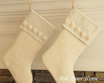 Personalized Christmas Stocking Burlap Linen Embroidered Winter White with small rosettes