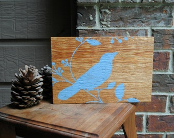 Bird Sitting on Branch Art Block on Reclaimed Cedar Wood