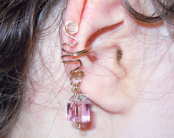 Gold fill or sterling silver pink Swarovski crystal nonpierced ear cuff, earring dangle, ear candy bling
