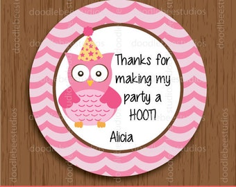 Personalized Owl Favor Tags, Owl Tags, Owl Labels, Owl Printables, Owl Stickers, Printable Owl Labels, Owl Favor Tags, Owl Party Printables