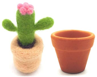 Cacti Felting Kits With Argil Base, 3 Needles, 1 Pair Leather Gloves, 1 Foam Mat, Tutorial Merino Wool Gift Wrap (Type A)