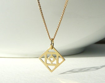 Modern Gold Plated Square Pendant, Curb Chain Necklace, Geometric Charm, Gold Plated Jewelry, Quadrangle Shape Charm, Ethnic Jewelry