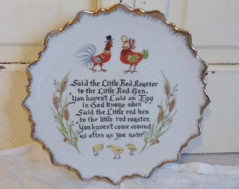 Vintage Plate with Little Red Rooster Poem