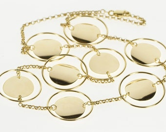 """14K Rolo Link Round Suspended Disc Chain Necklace 17.5"""" Yellow Gold"""