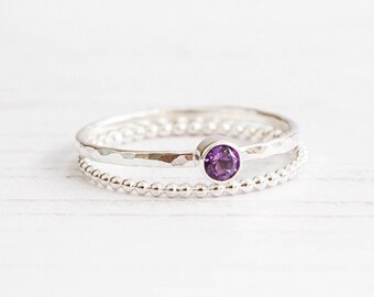 Amethyst ring, Birthstone ring, Dainty ring, February birthstone, Amethyst Jewelry, Sterling silver gemstone ring set, Ring stackable set,