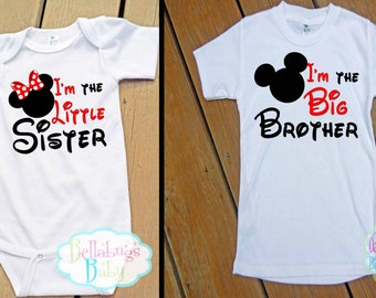 Brother Sister Disney Mouse Outfit - Bodysuit or Tshirt - Photo prop - Newborn - Big Brother - Little Sister