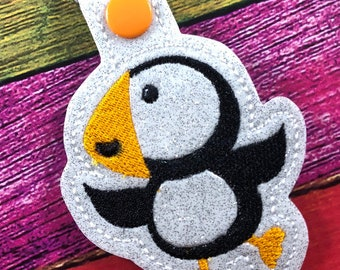 Puffin tag - novelty leyfob - puffin keyring keychain -best gifts for kids - gifts under 10