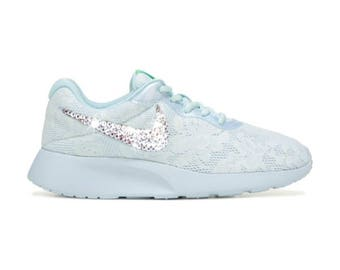 Swarovski Nike Tanjun ENG Women's Nike Shoes Lace Customized with Swarovski  Crystal Rhinestones, Bridal Shoes