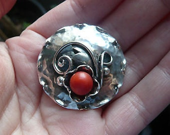 Vintage German Handarbeit Silver and Coral Brooch