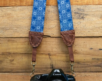 African Art Camera Strap for DSLR & Mirrorless Camera - Hand Made Double Sided Linen/Cotton (One of a kind - Hand stitched) african shwe shw