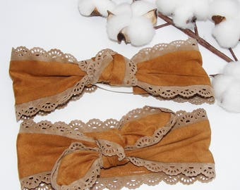 Headband / headband effect mustard suede and beige lace for small and large