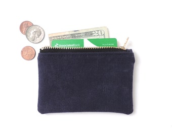 Canvas Wallet Coin Purse Zipper Pouch Slim Wallet Recycled Military Navy