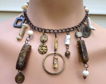 spun glass and brass choker, an assemblage in brown and cream - 610