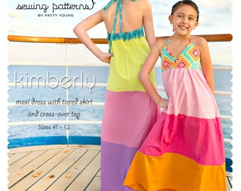 Kimberly Maxi Dress PDF Downloadable Pattern by MODKID... sizes 4T to 12 Girls included - Instant Download