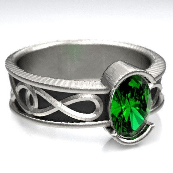 Celtic Engagement Ring With Emerald and Infinity Symbol Design in Sterling Silver, Made in Your Size CR-312