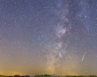 Meteor in a Haystack - Astrophotography - Milky Way Print - Meteor Shower Photo, Night Sky, Star Photography - Farm Art