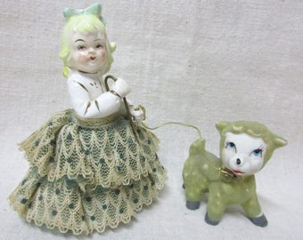 Vintage Mary Had A Little Lamb Figurine with Lace Skirt and Flocking on Lamb