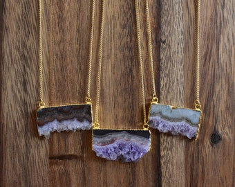 Natural Rectangle Amethyst Stalactite Stone Necklace/ Gold Necklace/ Layering Amethyst Stalactite Mineral/ Crystal Necklace (EPJ-NCA16)
