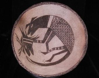 Anasazi /Mimbres Bowl Replication Lion / Deer Mask