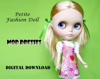 60s Mod Dresses Doll Clothes Pattern for Petite Fashion Dolls:Blythe, Licca, Vintage Skipper & Similar