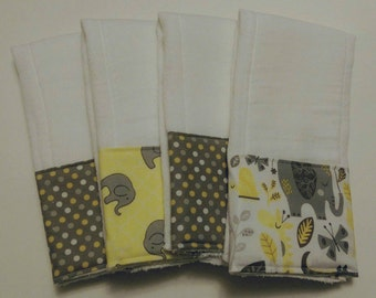 Gender Neutral Burp Cloths, Baby Shower Gift, Gender Neutral Baby Gift, Elephant Themed Baby Gift, Burp Rags, Spit Rags