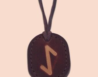 Ihwaz - The Rune of Defence -  Asatru Jewelry - Leather Rune Pendant - Rune Amulet Necklace - Viking Rune Necklace
