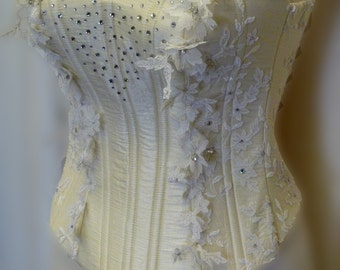 Lace Cream Corset with 3D Cut Out Lace One of a Kind Size Small