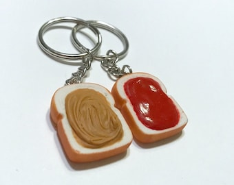 Peanut Butter & Strawberry Jelly Key Chains, Polymer Clay Best Friends Accessories, PB and J
