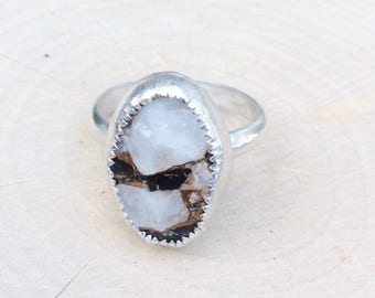 Sterling Mojave White Calcite and Black Obsidian Ring