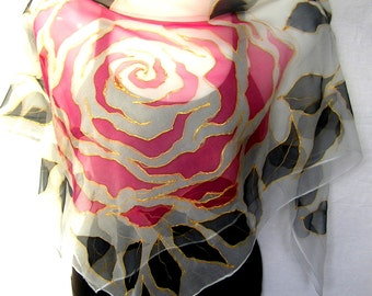 "Hand Painted Silk Scarf, Red Black White, Roses And Leaves, 35"" Square Floral Silk Chiffon Scarf, Roses Silk Scarf, Gift For Her"