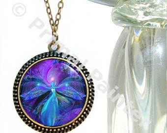 """Third Eye Necklace, Angel Art, Purple Jewelry, Meditation Intuition """"The Seer"""""""