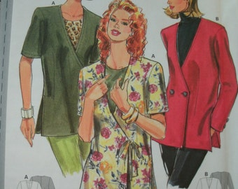 Misses Front Cross Jacket with Tie or Button Closure Size 10-12-14-16-18-20 BURDA Super Easy Pattern 3587 Rated Very Easy to Sew UNCUT