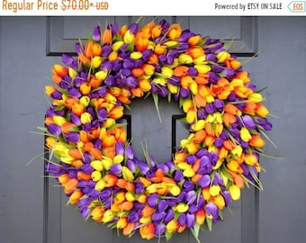 SUMMER WREATH SALE Outdoor Decor- Spring Wreath- Tulip Wreath- Wall Decor - Etsy Wreath- Home Decor