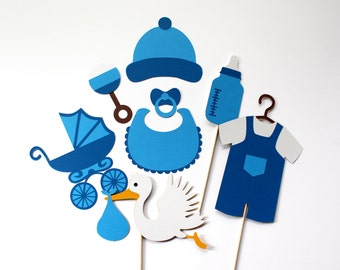 Baby Shower Photo Booth Props Boy Gender Reveal Photobooth Prop Blue