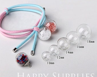 10pcs 10/12/14/16/18/20/25mm Clear Glass Globe With One Hole (GB)